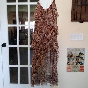 Boston Proper Maxi Hi Lo Ruffle Python Dress NWT